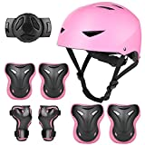 Kids Bike Helmet and Pads Set - Upgraded Protective Gear Set Knee and Elbow Pads Wrist Guards for 5~10yrs Girls Boys Children, Adjustable Skateboard Helmet for Bicycle Cycling BMX Scooter Skating