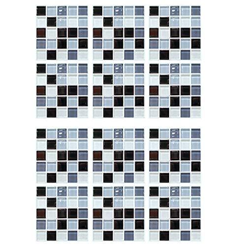 STRIR Decorativos Adhesivos para Azulejos Pegatina de Pared, Impermeable Azulejos de Gel, Diseño de Mosaico, Efecto 3D, Cenefa Autoadhesivo, para Baño y Cocina 20 * 20 * 1 cm (12pcs)