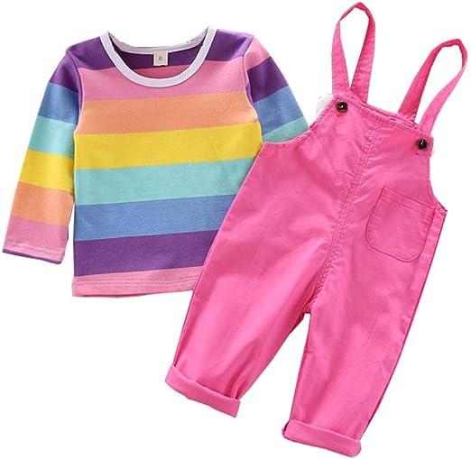 Miyanuby Bebé Niñas Outfits Set Camisas de Manga Larga a ...