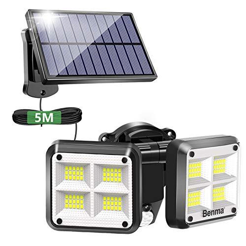 Solarlampen für Außen, 120 LED Superhelle Bewegungssensor Leuchten, IP65 Wasserdicht, 3 Modi Dimmbar Aussenlampen, Solar Wandleuchte für Garten mit 5M Kabel [Energieklasse A+++]