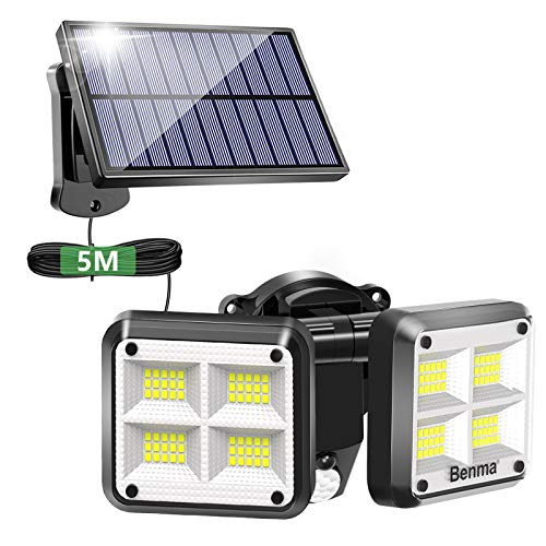 Lámparas solares para exteriores, 120 LED superbrillantes, sensor de movimiento, IP65, resistente al agua, 3 modos de intensidad regulable, lámpara de pared solar para jardín con cable de 5 m