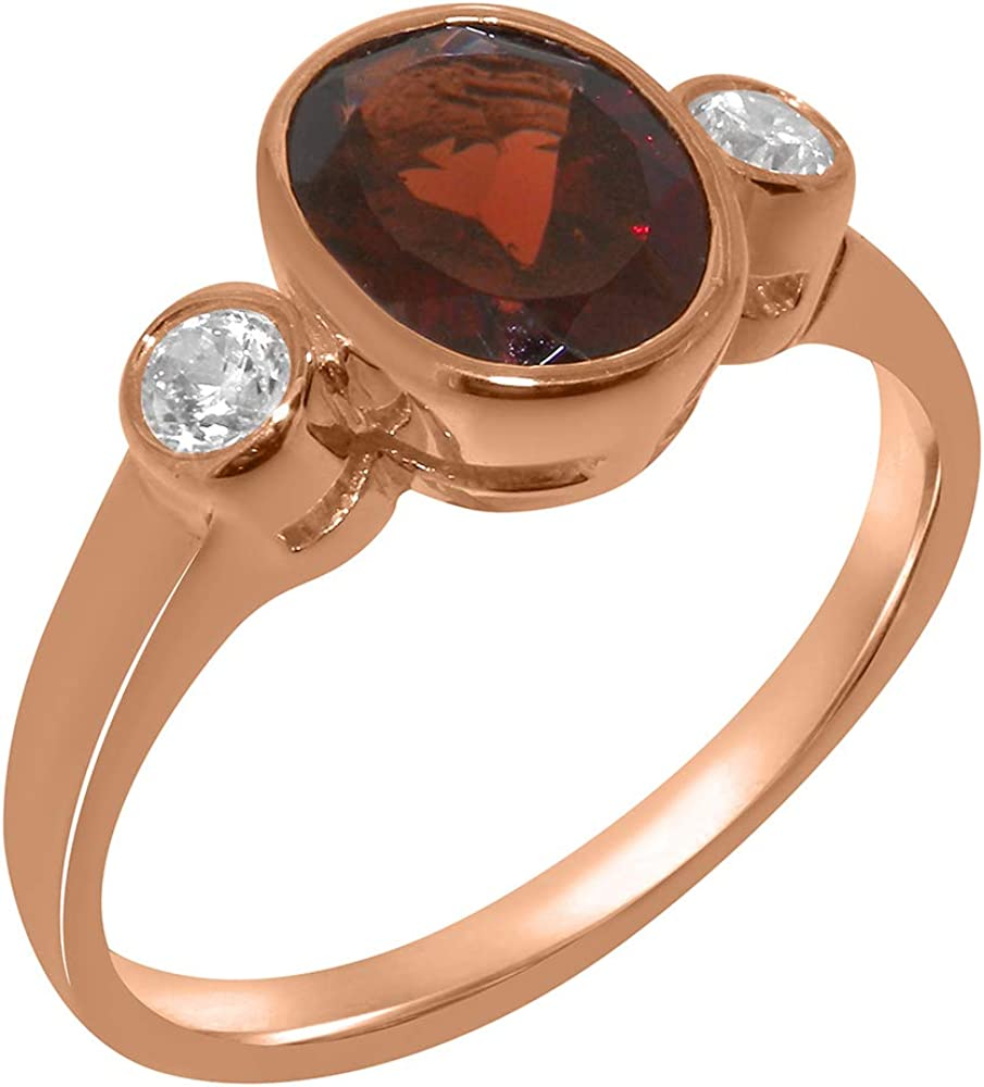 Solid 18k Rose Gold Natural Garnet & Cubic Zirconia Womens Trilogy Ring - Sizes 4 to 12 Available