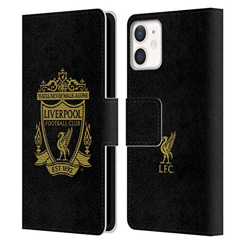 Official Liverpool Football Club Black 2 Crest 2 PU Leather Book Wallet Case Cover Compatible For Apple iPhone 12 Mini