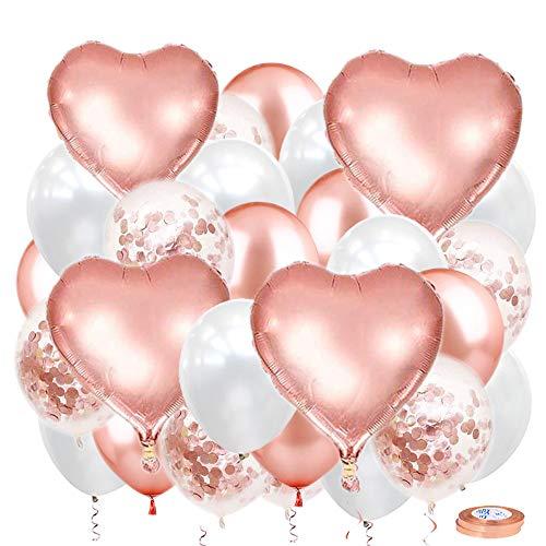 JWTOYZ Luftballons Rosegold Herz Set, 56 Stück Luftballon Hochzeit Rosegold weiß Set mit 4pcs Folienballon Herz, 50pcs Konfetti Luftballons und 2pcs Bändern für Geburtstag, Hochzeit, Babyparty Deko