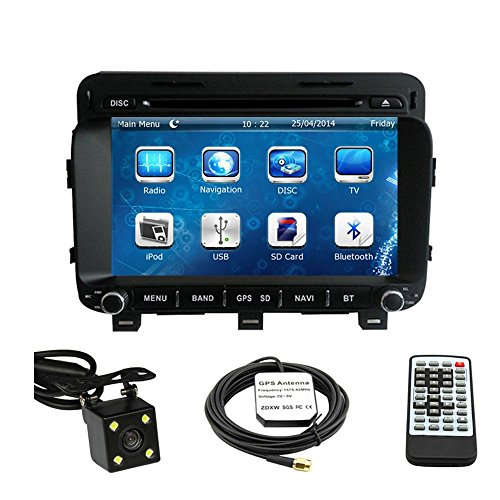 Car GPS Navigation System for KIA Optima 2014 2015 Double Din Car Stereo DVD Player 8 Inch Touch Screen TFT LCD Monitor In-dash DVD Video Receiver with Built-In Bluetooth TV Radio, Support Factory Steering Wheel Control, RDS SD/USB iPod AV BT AUX IN+ Free Rear View Camera + Free GPS Map of USA