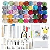 Anpro Nadelfilz Set, 45 Farben Filzwolle Basteln Nadelfilz Starter Kit, Wolle Roving Schafwolle DIY mit Werkzeug Set für Anfänger