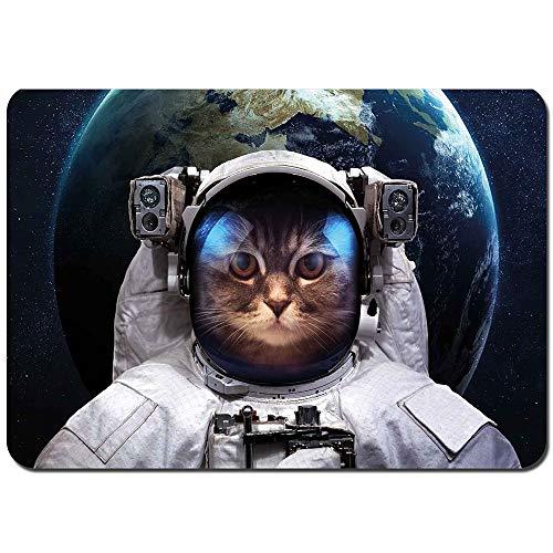 Alfombras Absorbente Antideslizante Astronauta Cosmonauta Traje Kitty con Fondo de Planeta Tierra en Galaxia Ultra Suave Alfombrilla De Baño Corredor-80x60cm