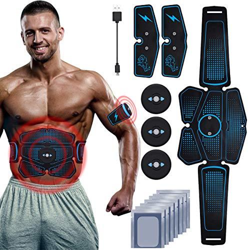 RIRGI Elettrostimolatore per Addominali, Elettrostimolatore Muscolare Professionale per Braccio/Gambe/Glutei, EMS con USB Ricaricabile, 6 modalità e 9 Livelli di Intensità(10PCS Ricambio Gel Pezzi)