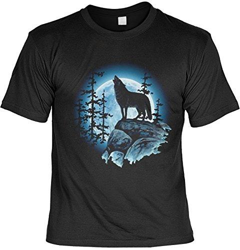 Heulender Wolf auf Felsen in der Nacht Tshirt : Wolfsmond - Motiv Shirt Wölfe Gr: XXL