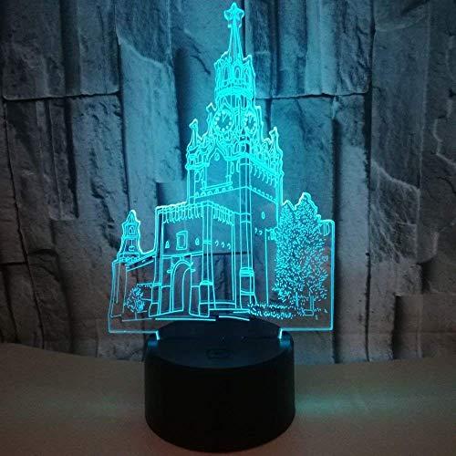 3D lamp Klok Toren 3D Lichten LED Kleurrijke Driedimensionale Tafellamp Bouwen 3D Illusie lamp Gift Tafellamp