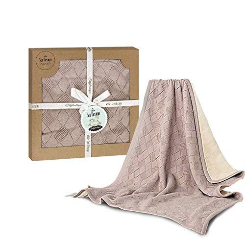 sei Design Babydecke | Strickdecke 90 x 70 cm | Kuscheldecke, Erstlingsdecke oder Puckdecke aus 100% Baumwolle in hübscher Geschenk-Verpackung