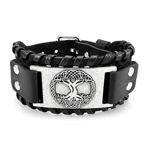 URBANTIMBER Viking Leatherette Armband met Yggdrasil en Keltische Knopen Zwart