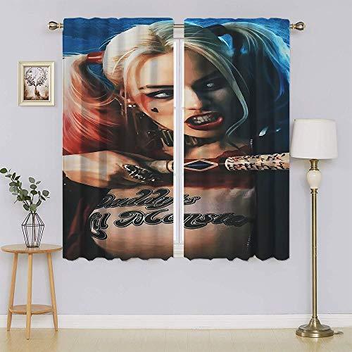 Harley Quinn – Cortina de dormitorio Suicide Squad, aislante oscurecimiento de la habitación, cortinas opacas para mantener el calor cortinas para dormitorio 106 cm de ancho x 163 cm de largo