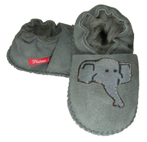 Plateau Tibet - (1L) 28/29 - Chaussons Chaussures bébé Fille garçon Cuir Souples - Gris, Elephant