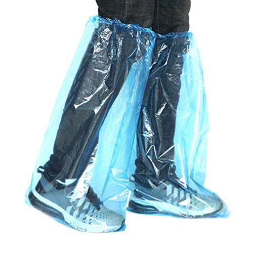 ibasenice 20個使い捨てブーツカバープラスチックロング靴カバー防水オーバーシューズ厚み靴カバー使い捨て外のための毎日使用屋外