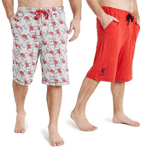 Liverpool F.C. Pantaloncini Uomo, Pacco da 2 Pantaloni Corti con Tasche, Abbigliamento Estivo in Cotone, Shorts Uomo da Calcio, Palestra, Corsa, Tute Uomo Estive (L)