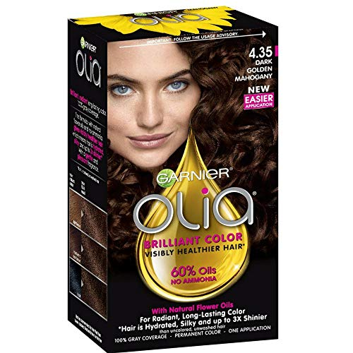 Garnier Olia Ammonia-Free Brilliant Color Oil-Rich Permanent Hair Color, 4.35 Dark Golden Mahogany (Pack of 1) Brown Hair Dye