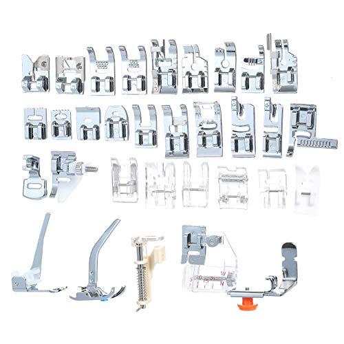Cigovd 32 piezas Juego de prensatelas Piezas y accesorios para máquinas de coser domésticas Pie de costura Máquina de coser eléctrica para el hogar Juego de...