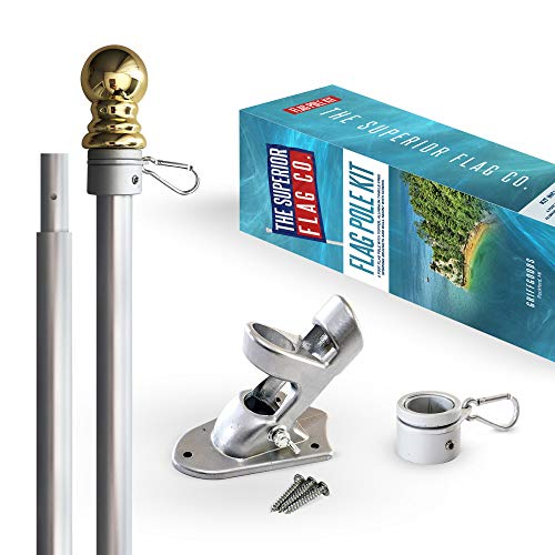 THE SUPERIOR FLAG CO. Heavy-Duty 6 Ft Flag Pole Kit with Gold Ball Topper, Aluminum Tangle-Free Spinning Rings and Bracket: Wind Resistant and Rust-Free 1in Diameter Flagpole Set for House, Porch