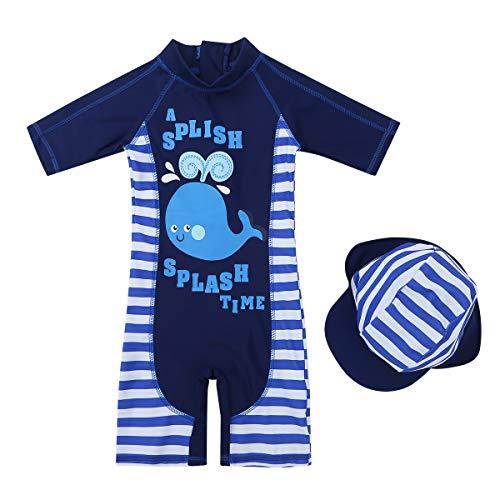 iiniim Maillots de Bain 1 Pièce Baleine Requin Bébé Enfant Garçon Fille Combinaisons de Bain + Bonnet de Bain Costume de Plage Vacances Anti-UV Body Nager Natation 1-6 Ans Baleine 2-3 Ans
