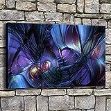 NIMCG Tela Pittura Soggiorno Wall Art Glitter Immersione Luce Fumo Immagini Stampe Colorato Astratto Poster Decorazioni per la casa 50x70 cm (Senza Cornice)