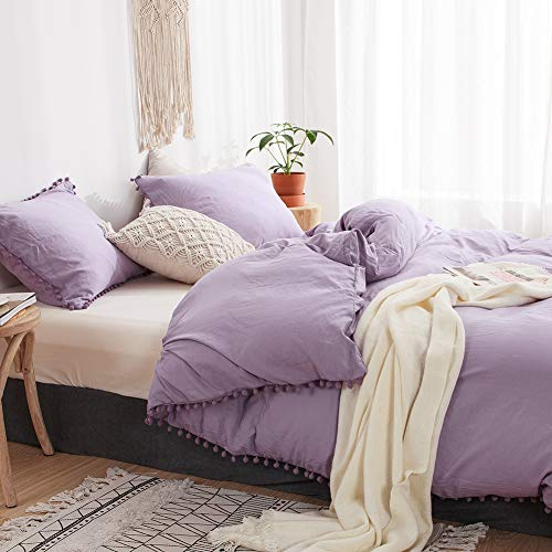 MOVE OVER 3 Pieces Purple Bedding Light Lavender Duvet Cover Set Ball Fringe Pattern Design Soft Light Purple Bedding Sets Queen One Duvet Cover Two Ball Fringe Pillow Shams (Queen, Light Purple)