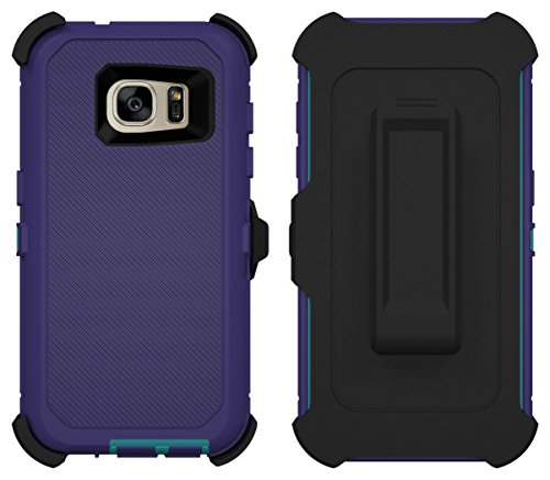 Galaxy S7 Case, Caseologist [Armor Series] [Shock Proof] [Purple | Aqua] for Samsung Galaxy S7 Case [Built in Screen Protector] [with Holster & Belt Clip] [Fits OtterBox Defender Series Belt Clip]
