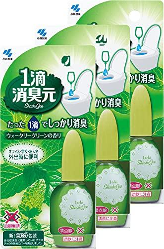 【まとめ買い】1滴消臭元消臭芳香剤トイレ用ウォータリーグリーン20ml(約640滴分)×3個