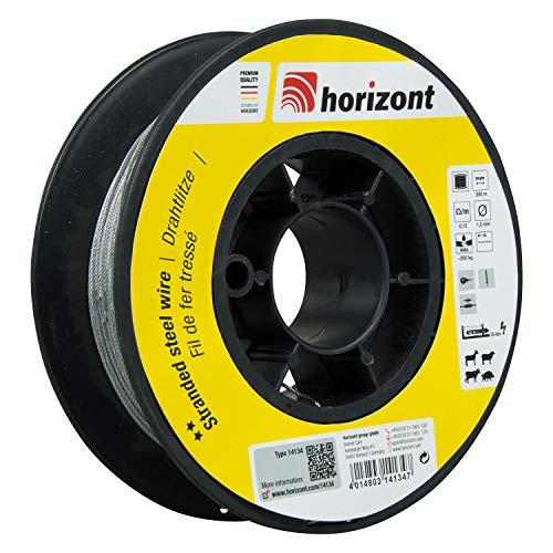 horizont Weidezaundraht mit Spule, Drahtlitze, 200m lang, 1,5 mm breit, 200 kg Bruchlast, besonders flexibel, geeignet für mittlere Zaunlängen, Weidezaunband, Breitband Litze, Elektrozaun