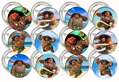 Party Over Here Maui Only from Moana ButtonsParty Favors Supplies Decorations Collectible Metal Pinback Buttons, Large 2…