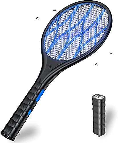 Recargable Raqueta Matamoscas Electrica, Mata Mosquitos Electrico, 4000 Voltios, Iluminación LED, Linterna Extraíble, Malla de Seguridad Unica de 3 Capas Segura para Tocar