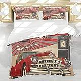 BEDNRY Bettwäsche-Set,Mikrofaser,Cars Poster Style Image