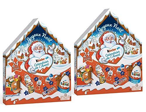 Ferrero KINDER Calendriers de l'avent Chalet avec 24 surprises chocolatées pour un maximum de plaisir By Ferrero - Lot de 2