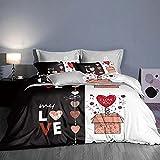 Bedclothes-Blanket Copripiumino Matrimoniale 240 x 260,Biancheria da Letto a Cuore 3D Quattro Set-C_1.8m Bed 4 Set (20 200 200 * 230 cm)