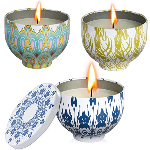DLOPK Citronella Oil Candles Gift Sets, Citronella Candles, Essential Oil Stress Relief Candle, Natural Soy Wax Travel Tin Relaxing Candle for Bath Spa Meditation Pack 3