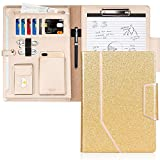 Toplive Padfolio Portfolio Case, Conference Folder Executive Business Padfolio with Document Sleeve,Letter/A4 Size Clipboard,Business Card Holders, Portfolio Padfolio for Women/Men,Bling Gold