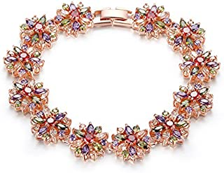 Yellow Chimes Multi-Color Swiss Cubic Zirconia 18K Rose Gold Plated Chain Bracelet For Women