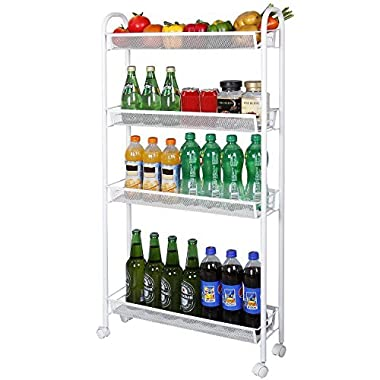 Lifewit 4-Tier Rolling Cart Slim Storage Cart Narrow Kitchen Cart Mesh Wire Metal with Wheels for Gap Kitchen, Bathroom Slim Storage Rack
