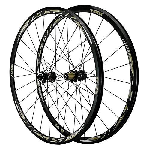 MNBV Ultralight 700C Disc Brake Road Bike Wheelset Thru Axle Mountain Bike Front + Rear Wheel Cyclocross Road V/C Brake 7/8/9/10/11/12 Speed Wheel