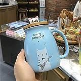 ZSQQSCL Le Lait Le Café Tasse En Céramique,Personnalité Créatrice Cartoon Cute Animal Chat Bleu Mug, Chocolat Chaud Thé Café Capacité 450Ml Tasse Pour Verre Du Matin Office Essentials Anniversaire