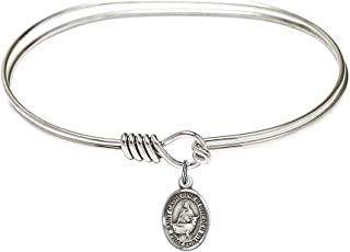 7 inch Oval Eye Hook Bangle Bracelet with a St. Catherine of Sweden charm./Saint Catherine of Sweden is the patron saint of Miscarries/Anti-Abortion. Memorial Day March 24th./Miscarries/Anti-Abortion