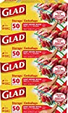 Glad Trash & Food Storage Zipper Food Storage Plastic Bags - Quart - 50 Count, Pack of 4 (Package May Vary), Clear (79106)