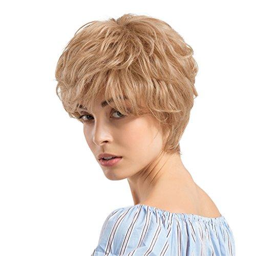 perruque synth/étique r/ésistante /à la chaleur pour cosplay Halloween Mostfar Perruque longue ondul/ée et boucl/ée blond platine avec racines brunes raie au milieu d/éguisement usage quotidien