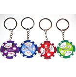 Casino Authentic Clay Poker Chip Keychains - 4 Pieces