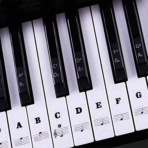 Traumreiter Aufkleber SW Klaviertasten Noten Aufkleber Klavier Keyboard Tastatur 37/49/54/61/88 entfernbar ohne Klebespuren Notenaufkleber für Klaviere Anfänger lernen ohne Noten Piano Zubehör