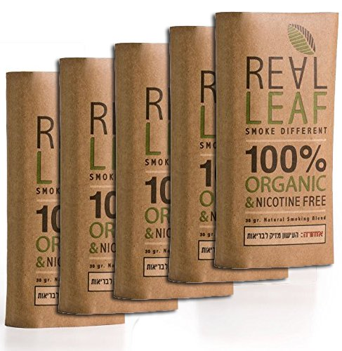 5 X Organic Herbal Natural Smoking Mixture, 100% Nicotine & Tobacco Free, Rich, Aromatic, Delicate Aroma and Smooth natural taste 5 PACKS Real Leaf Tobacco Substitute, 150g Total