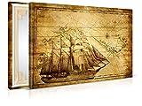 XXL-Tapeten Leinwandbild Vintage Sailing - Fertig Aufgespannt - Gemälde, Kunstdruck, Wandbild, Keilrahmen, Bild auf Leinwand von Trendwände - Format: 90x60cm, Standard: Polyester-Leinwand 2cm Rahmen
