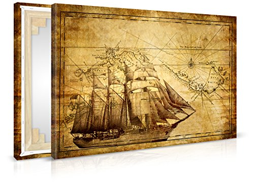 XXL-Tapeten Leinwandbild Vintage Sailing - Fertig Aufgespannt - Gemälde, Kunstdruck, Wandbild,...