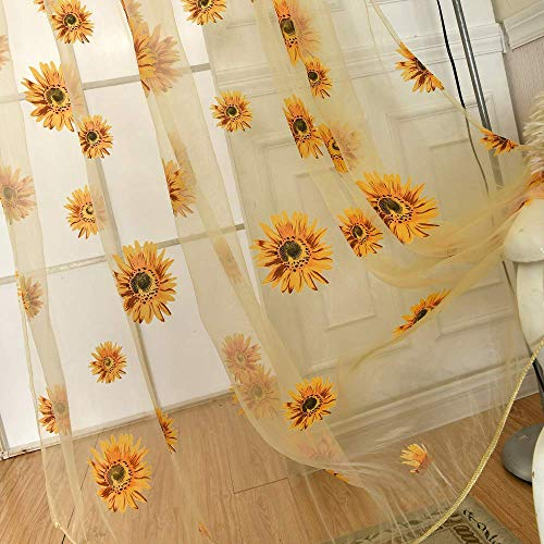 Haoun 2pcs Sunflower Sheer Curtains Window Panels Drapes Voile Tulle for Living Room Bedroom Kid's Room Decor 39.4x78.8 Inch