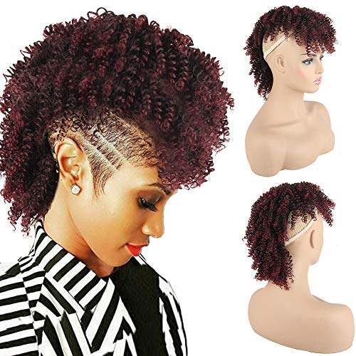 KRSI Afro High Puff Hair Bun Ponytail Drawstring With Bangs Synthetic Red Wine Spring Curly Mohawk Wigs Kinkys Curly Hair Ponytail Clip in on Ponytails for Women Hair Extensions Ponytail (1B/Bug)